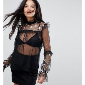 Brand New, Sheer mesh top with flower embroidery
